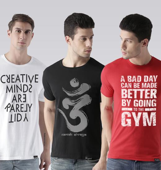 610fd640a6937 Young Trendz Mens Combo Creative White Color OMM Black Color and Gym Red  Color Half Sleeve