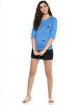 Womens 34U Drop Printed Blue Color Tshirts