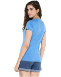 Womens Half Sleeve Drop Printed Blue Color Tshirts