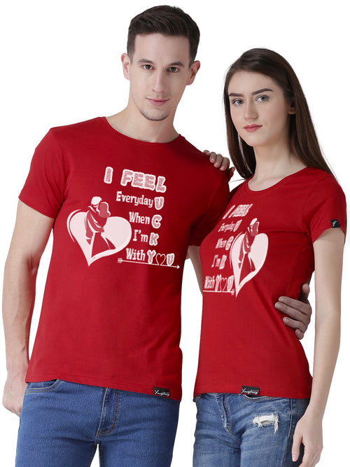 DUO-Half Sleeve Lucky Printed Red Color Couple Tshirts