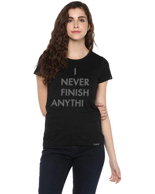 Womens Half Sleeve Finish Printed Black Color Tshirts