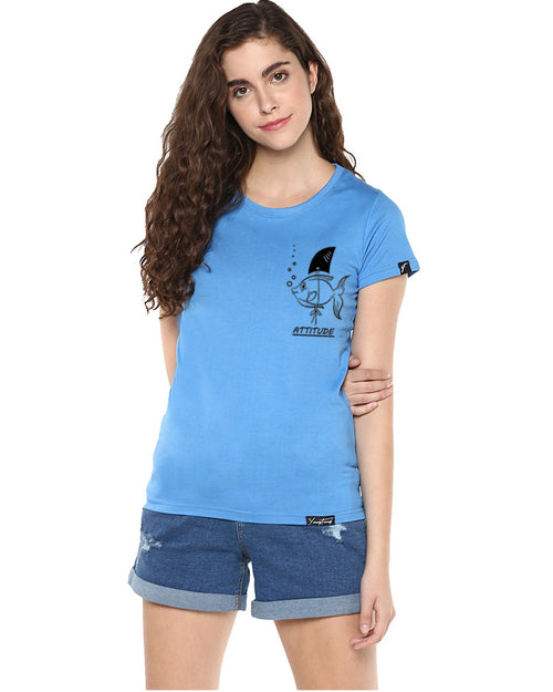 Womens Half Sleeve Fish Printed Blue Color Tshirts
