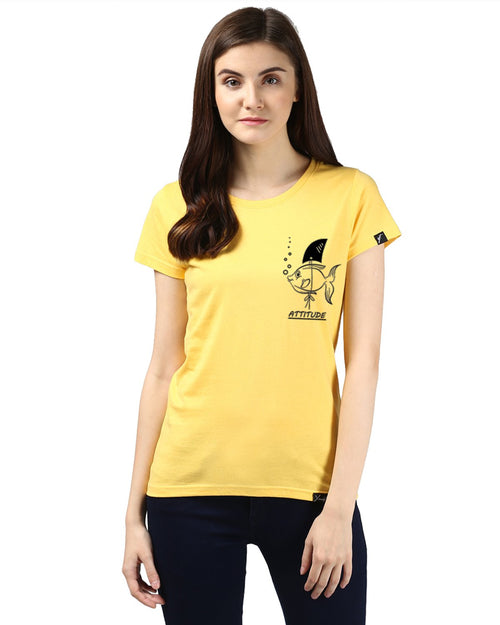 Womens Half Sleeve Fish Printed Yellow Color Tshirts