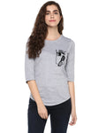 Womens 34U Frenchfry Printed Grey Color Tshirts