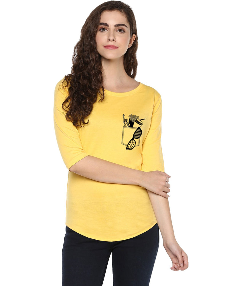 Womens 34U Frenchfry Printed Yellow Color Tshirts