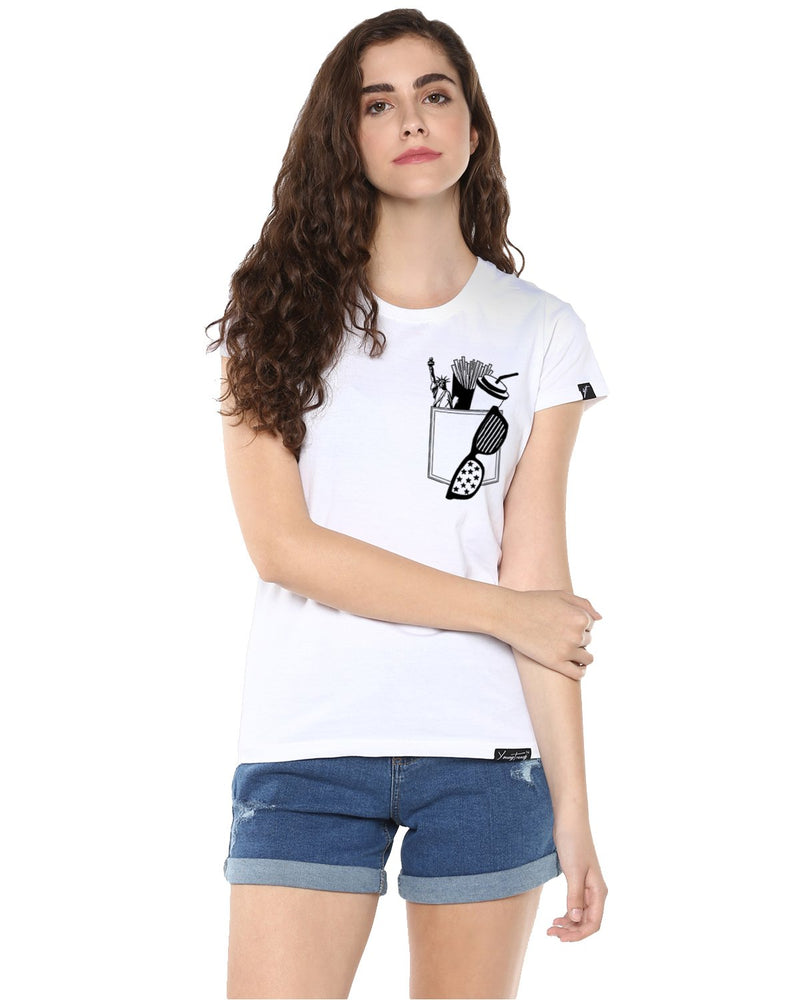 Womens Half Sleeve Frenchfry Printed White Color Tshirts