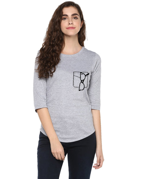 Womens 34U Glass Printed Grey Color Tshirts