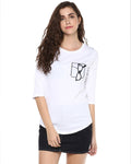 Womens 34U Glass Printed White Color Tshirts
