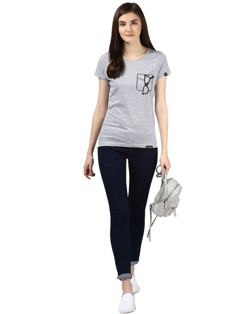 Womens Half Sleeve Glass Printed Grey Color Tshirts