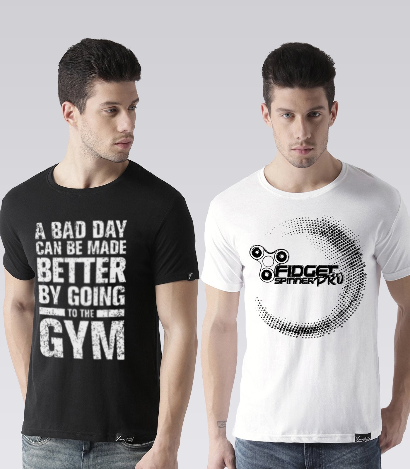 cb4b8677133c5 Young Trendz Mens Combo Gym Black Color and Prospin White Color Half Sleeve Printed  T-