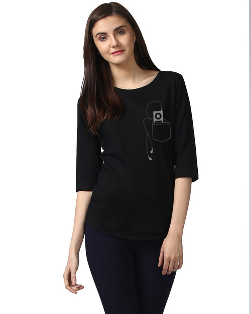 Womens 34UHeadphone  Printed Black Color Tshirts
