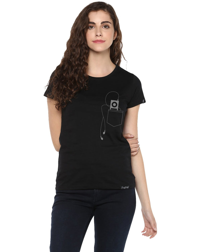 Womens Half Sleeve Headphone Printed Black Color Tshirts