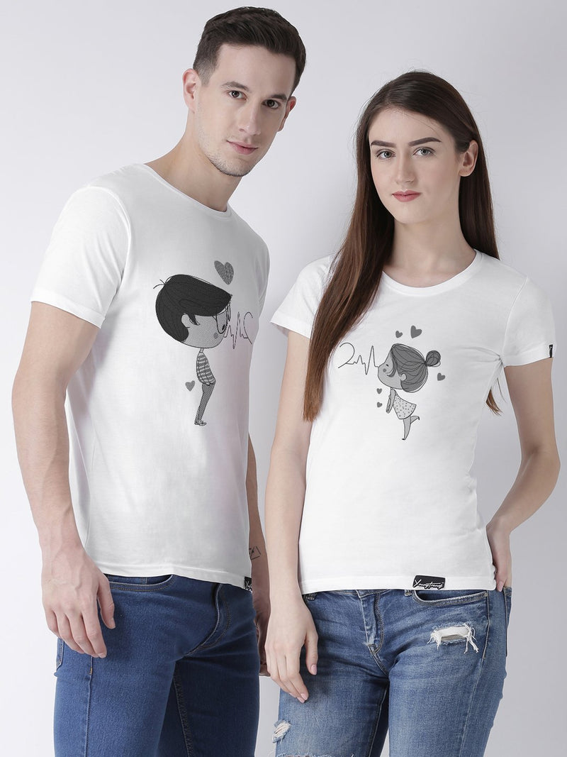 DUO-Half Sleeve Pulse Printed White Color Couple Tshirts