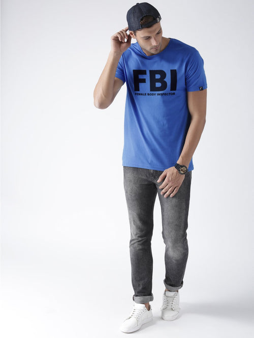 Young Trendz Bio-Wash Cotton Half Sleeve FBI Graphic Printed SKYBLUE T-Shirt