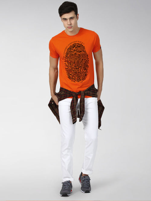 Young Trendz Bio-Wash Cotton Half Sleeve FINGERPRINT Graphic Printed ORANGE T-Shirt