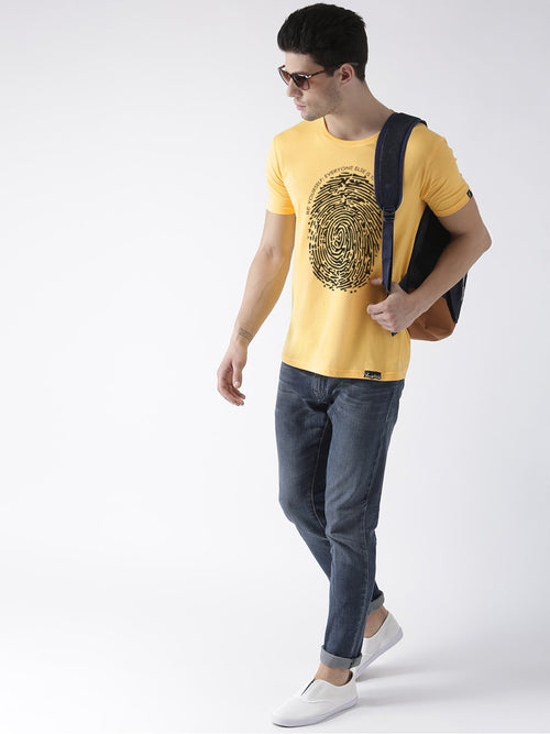 Young Trendz Bio-Wash Cotton Half Sleeve FINGERPRINT1 Graphic Printed YELLOW1 T-Shirt