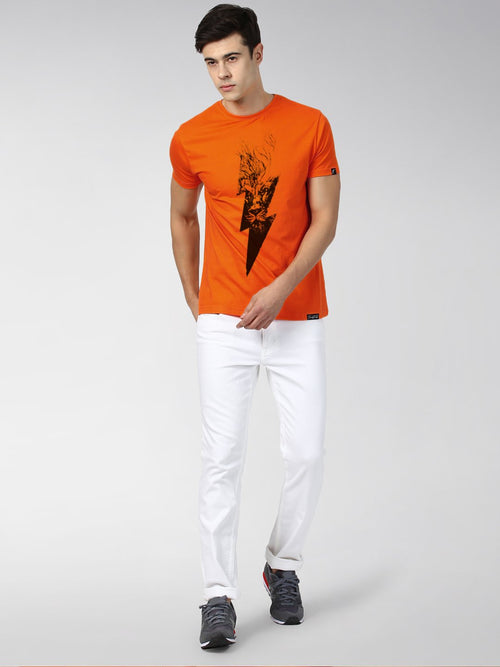 Young Trendz Bio-Wash Cotton Half Sleeve FLASHLION Graphic Printed ORANGE T-Shirt