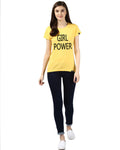 Womens Hs Girlpower Printed Yellow Color Tshirts