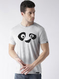 Half Sleeve Pandaeyes Printed Grey Color Tshirts