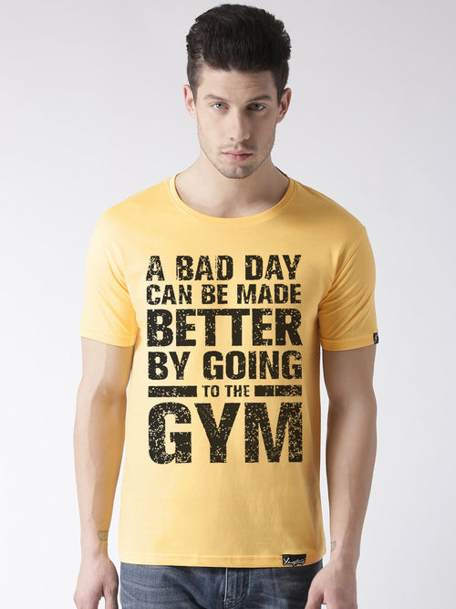 Young Trendz Bio-Wash Cotton Half Sleeve GYM1 Graphic Printed YELLOW1 T-Shirt