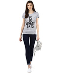 Womens Hs ITIS Printed Grey Color Tshirts