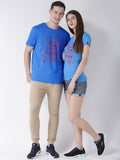 DUO-Half Sleeve Happy Printed Skyblue Color Couple Tshirts