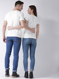 DUO-Half Sleeve Happy Printed White Color Couple Tshirts