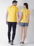 DUO-Half Sleeve Happy Printed Yellow Color Couple Tshirts