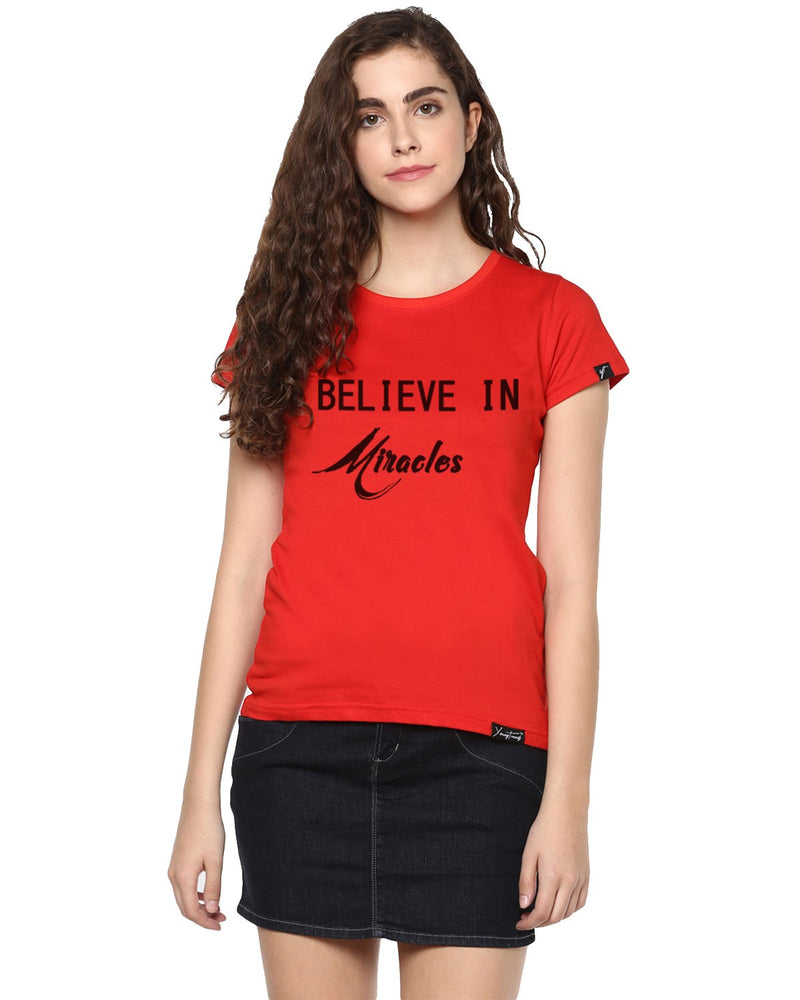 Womens Hs Miracle Printed Red Color Tshirts