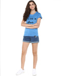 Womens Hs Miracle Printed Sblue Color Tshirts
