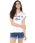 Womens Hs Miracle Printed White Color Tshirts