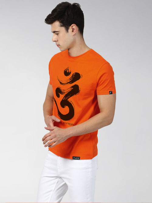 Young Trendz Bio-Wash Cotton Half Sleeve OMM Graphic Printed ORANGE T-Shirt