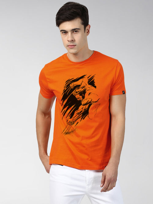 Young Trendz Bio-Wash Cotton Half Sleeve WOLVARIN Graphic Printed ORANGE T-Shirt