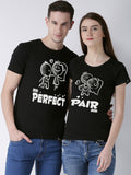 DUO-Half Sleeve Perfect Printed Black Color Couple Tshirts