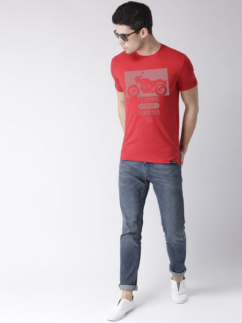 Young Trendz Bio-Wash Cotton Half Sleeve BIKELEGS Graphic Printed RED T-Shirt