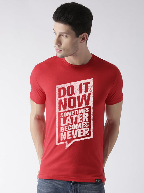 Young Trendz Bio-Wash Cotton Half Sleeve DOIT Graphic Printed RED T-Shirt