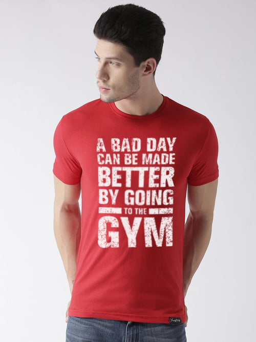 Young Trendz Bio-Wash Cotton Half Sleeve GYM Graphic Printed RED T-Shirt