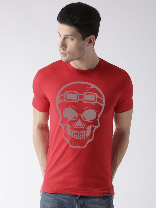 Young Trendz Bio-Wash Cotton Half Sleeve SKULL Graphic Printed RED T-Shirt