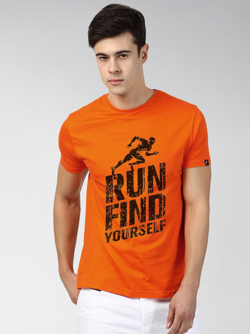 Young Trendz Bio-Wash Cotton Half Sleeve RUNFIND Graphic Printed ORANGE T-Shirt