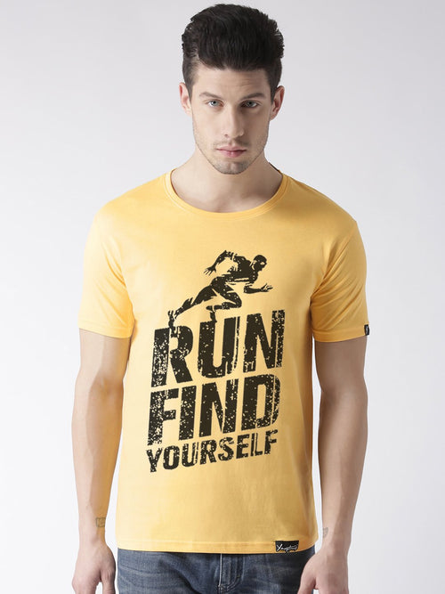 Young Trendz Bio-Wash Cotton Half Sleeve RUNFIND1 Graphic Printed YELLOW1 T-Shirt
