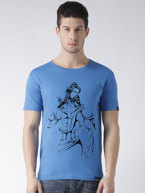 Young Trendz Bio-Wash Cotton Half Sleeve SHIV Graphic Printed SKYBLUE T-Shirt