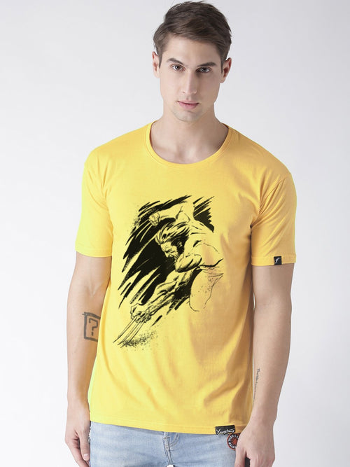 Young Trendz Bio-Wash Cotton Half Sleeve WOLVARIN1 Graphic Printed YELLOW1 T-Shirt