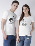 DUO-Half Sleeve Love you Printed White Color Couple Tshirts