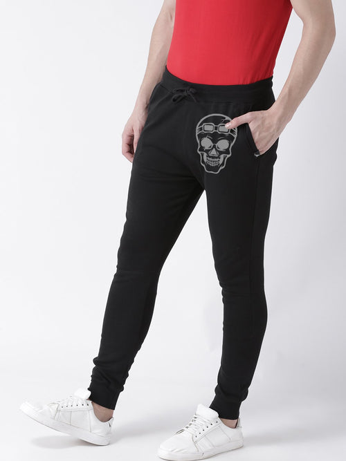 Young Trendz Mens Jogger Black Color Skull Printed Track Pants