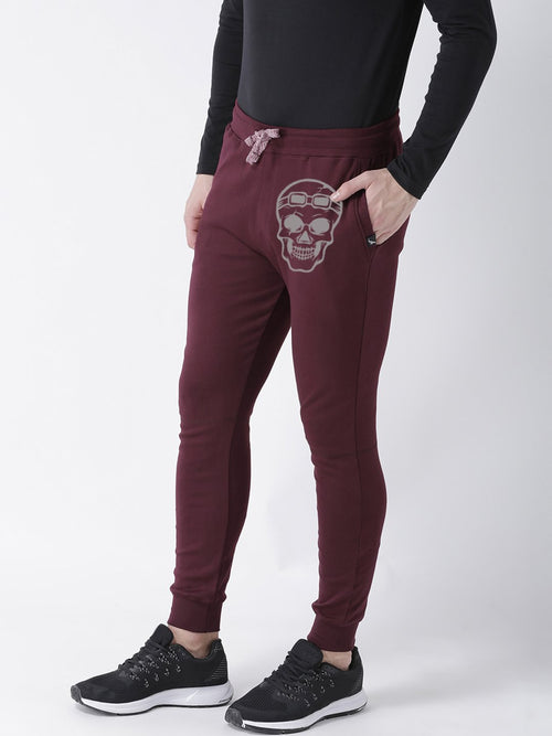 Young Trendz Mens Jogger Maroon Color Skull Printed Track Pants