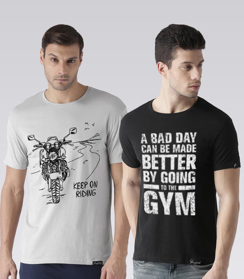 Young Trendz Mens Combo Keeponride Grey Color and Gym Black Color Half Sleeve Printed T-Shirts