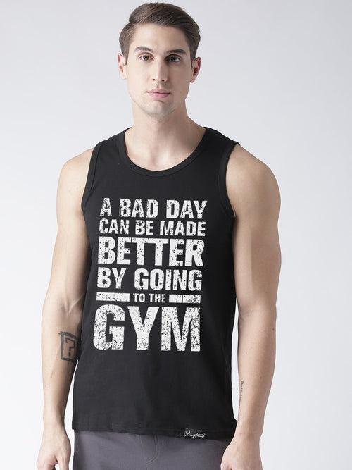 Sleeveless Gym Printed Black Color Vest