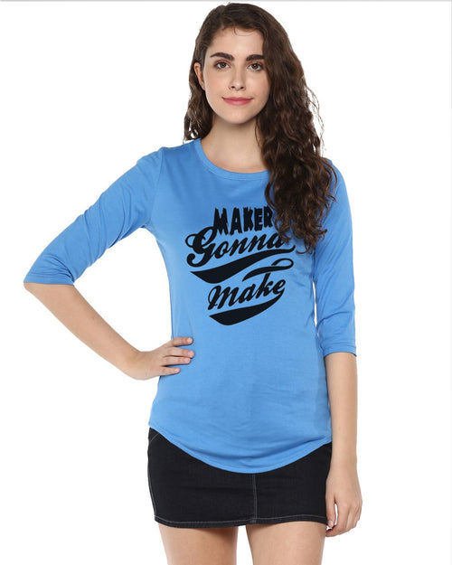 Womens 34U Maker Printed Blue Color Tshirts
