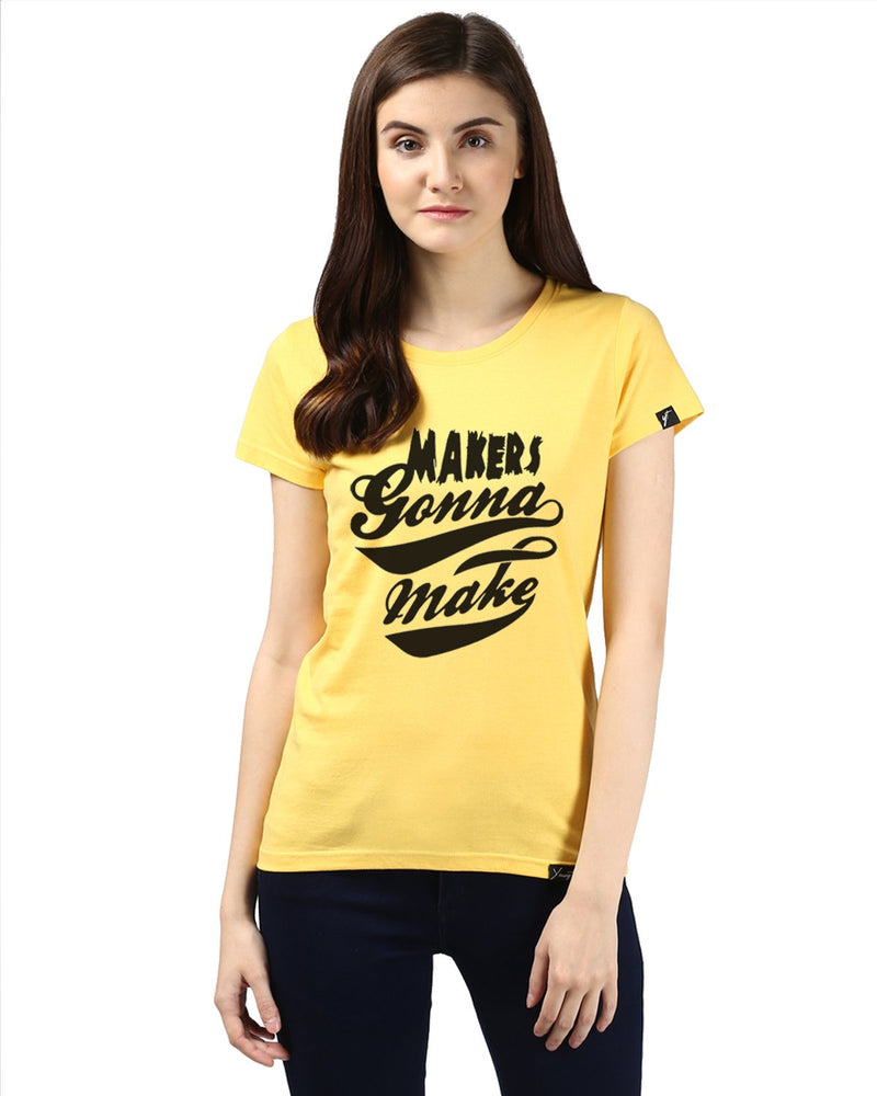 Womens Half Sleeve Maker Printed Yellow Color Tshirts