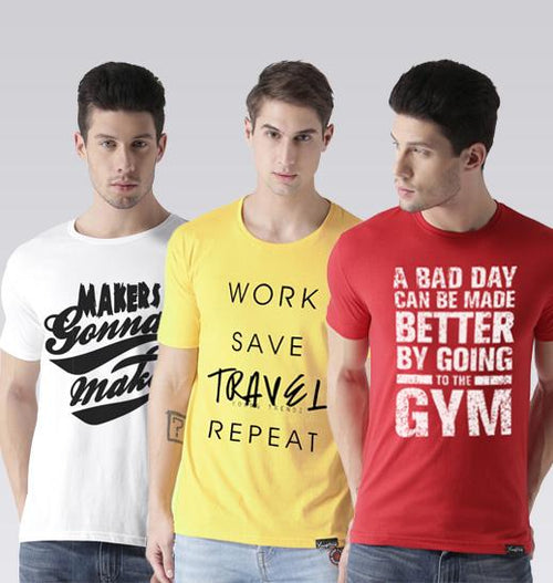 Young Trendz Mens Combo Maker White Color Travel Yellow Color and Gym Red Color Half Sleeve Printed T-Shirts
